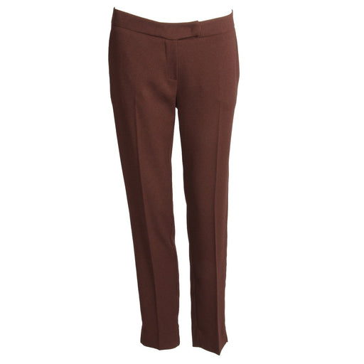 Soallure womens burnt brown trousers with a slim fit