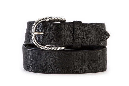 ORCIANI mens black Belt with engraved buckle