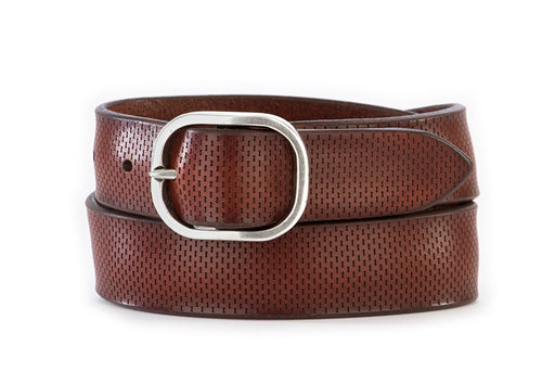 ORCIANI mens brown perforated leather Belt