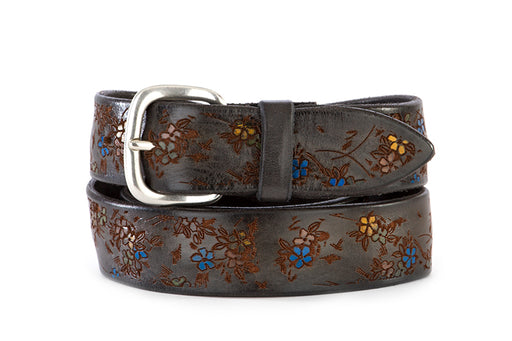 ORCIANI mens grey floral design leather Belt