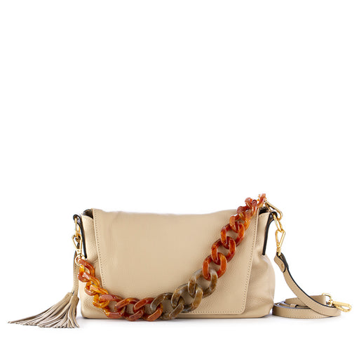 "gianni chiarini womens ""resin"" shoulder bag beige"
