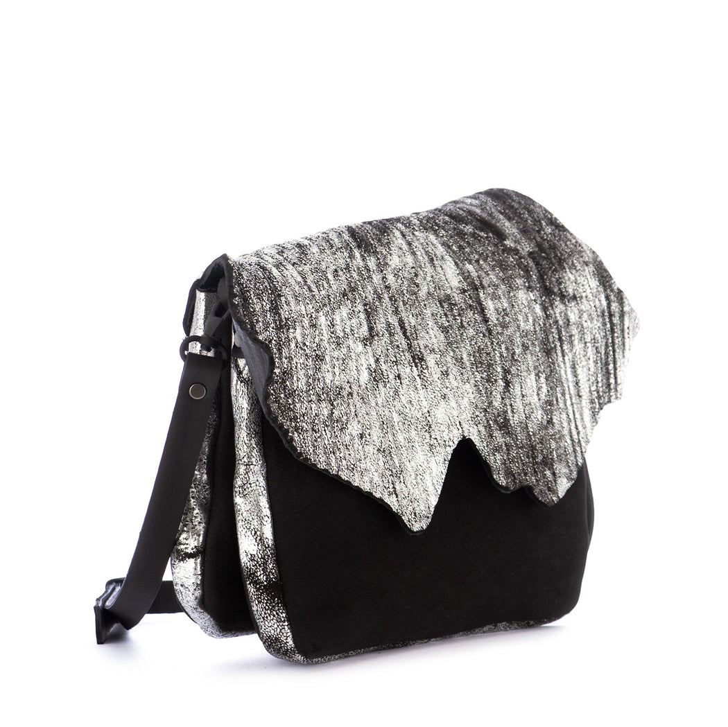 papucei womens crossbody bag black silver