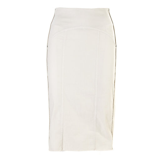 8PM womens white stretch cotton Longuette skirt