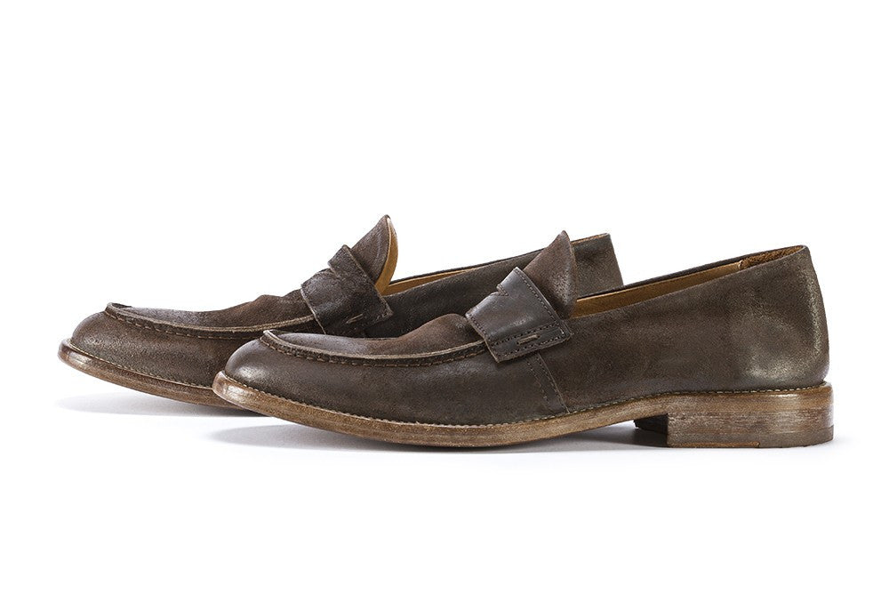 MOMA mens chocolate brown suede Loafers