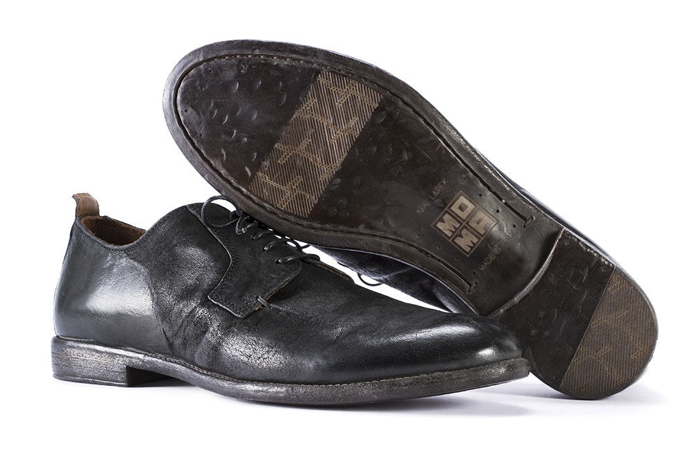 MOMA mens total black leather Derby shoes
