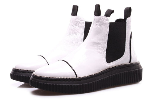 D+ womens white black leather Chelsea boots