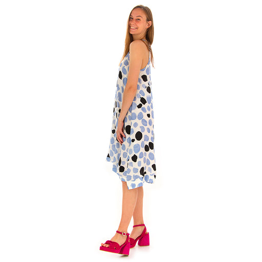 manila grace womens dress viscose white light blue