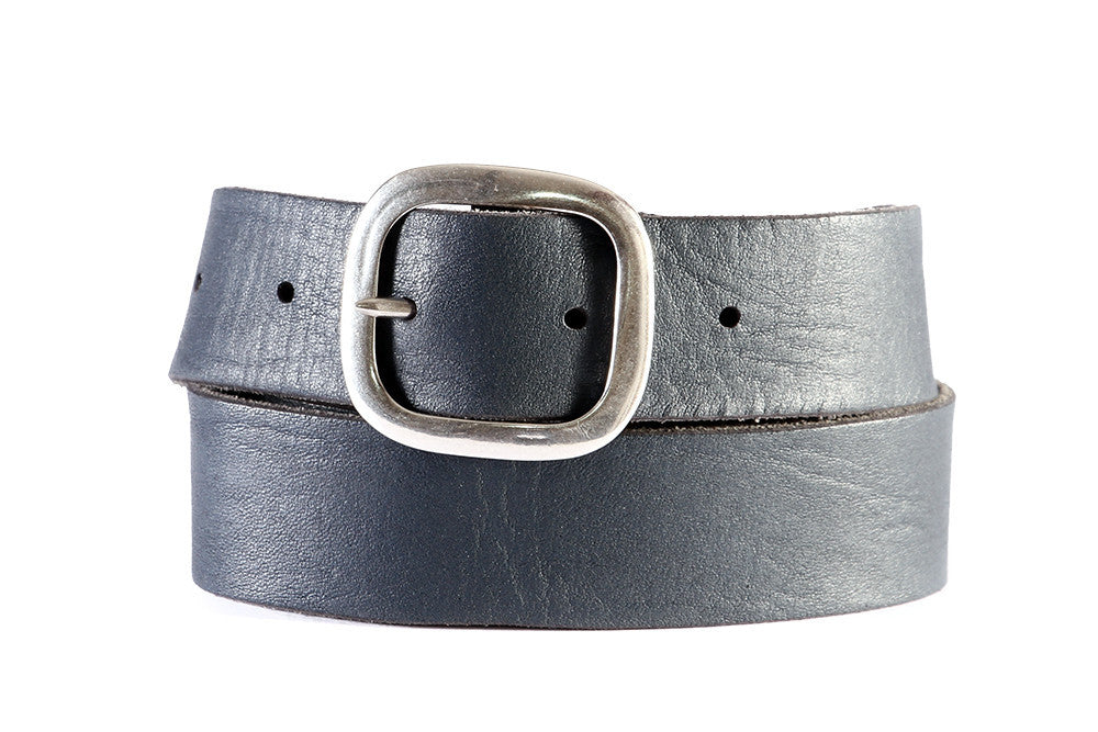 Orciani mens blue and gray leather belt with silver buckle