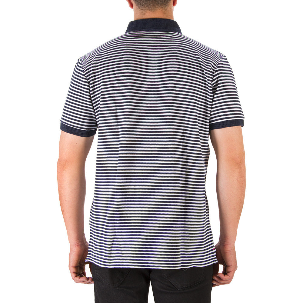 BEST COMPANY mens blue white striped cotton Polo