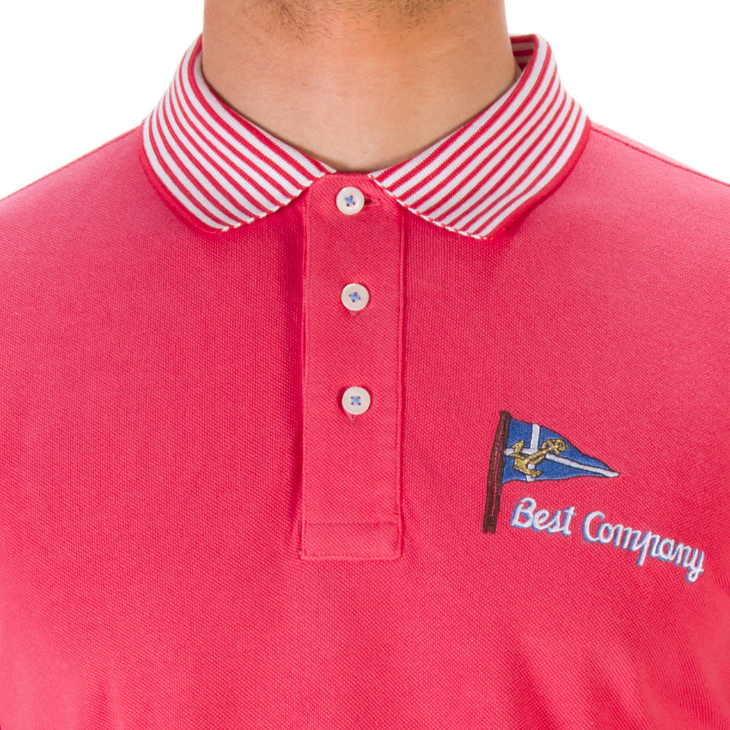 BEST COMPANY mens strawberry pink cotton piquet Polo