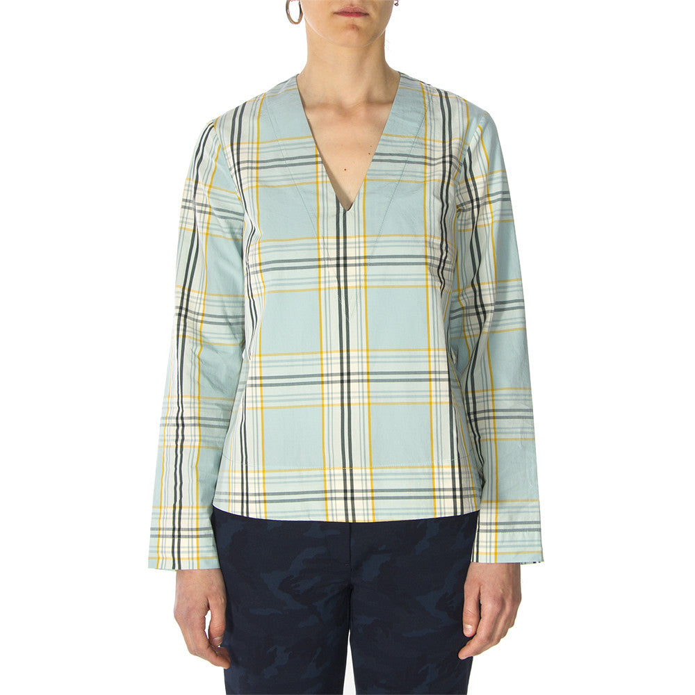 Phisique Du Role womens light blue/yellow tartan cotton Shirt