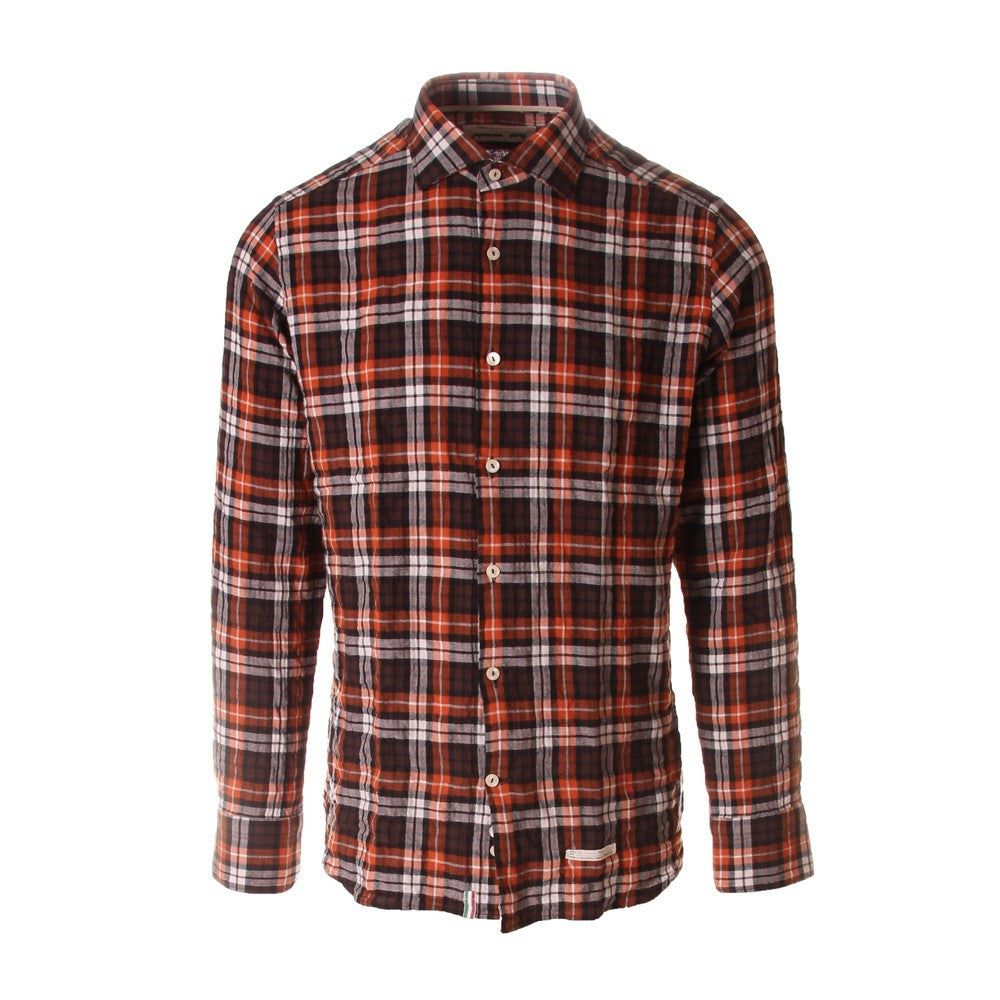 Tintoria Mattei 954 mens tartan orange/brown cotton shirt
