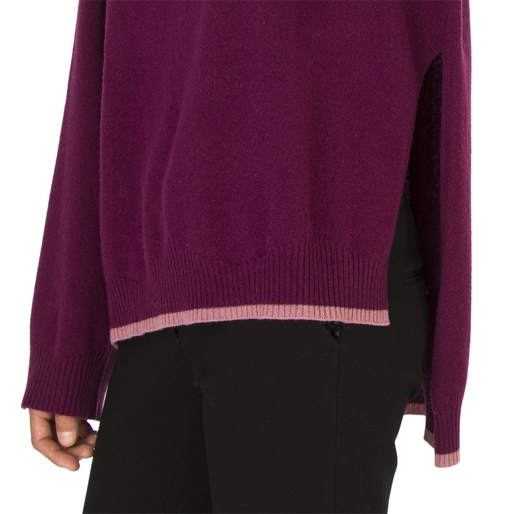 SEMICOUTURE Womens dark purple wool cashmere sweater