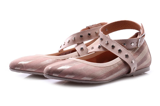 D+ womens powder pink beige leather Ballerinas