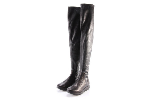 ANDIAFORA womens black leather Knee-high boots