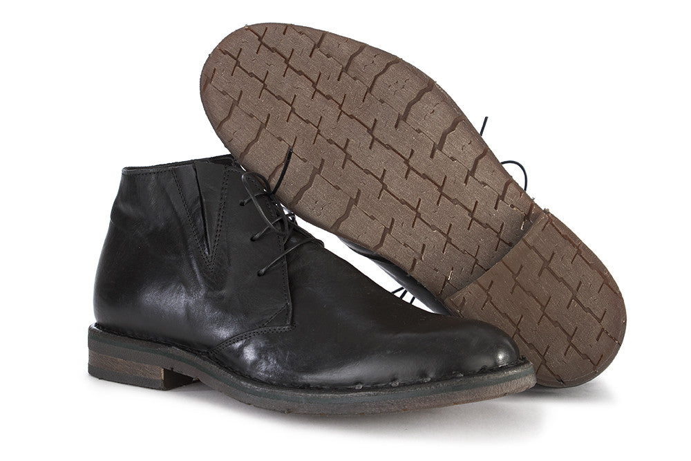 MOMA mens black nappa leather Desert boots