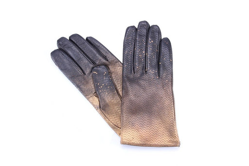 5 FINGERS women Gloves black gold leather wool nappa