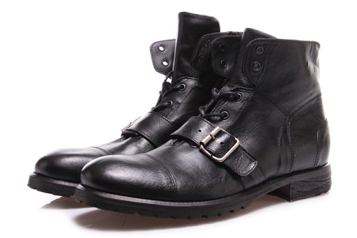 PAWELK'S Mens black leather Boots with buckle