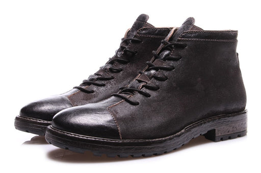 NICOLA BARBATO mens anthracite leather Ankle boots