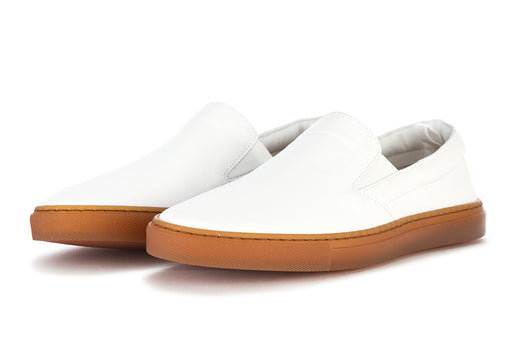 MANOVIA 52 womens white leather Slip on shoes