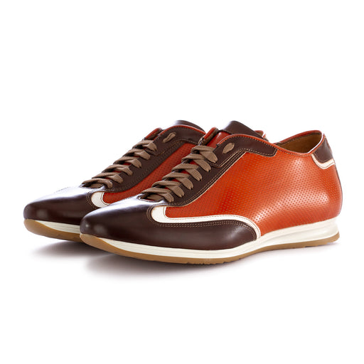 100% fatto in italia mens flat shoes leather orange brown