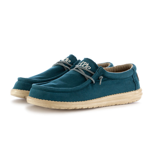 hey dude shoes mens flat shoes wally washed blue