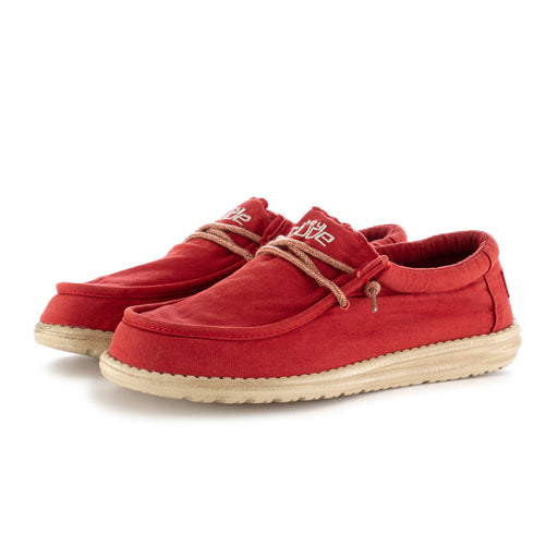 hey dude shoes mens flat shoes wally washed red