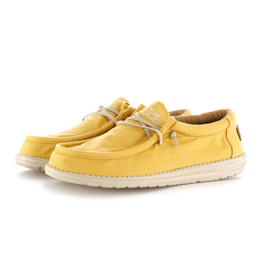 hey dude shoes mens flat shoes wally washed yellow