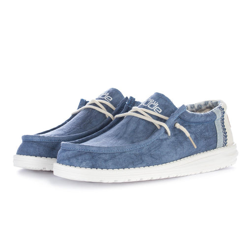 hey dude mens flat shoes wally linen blue