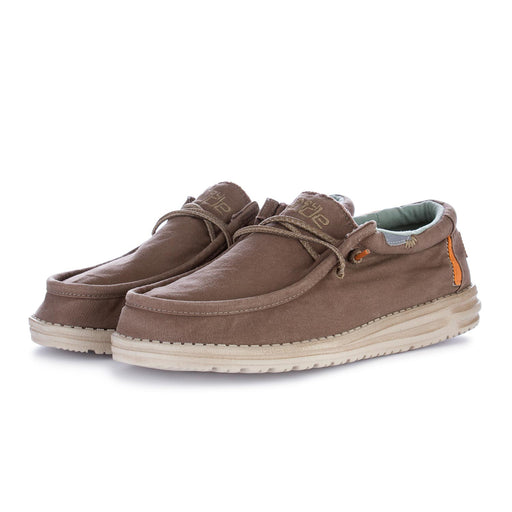 mens flat shoes wally washed brown