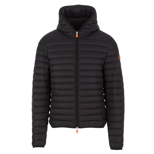 Save The Duck men's hooded jacket black nylon