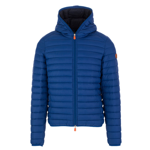 Save The Duck men's hooded jacket blue nylon