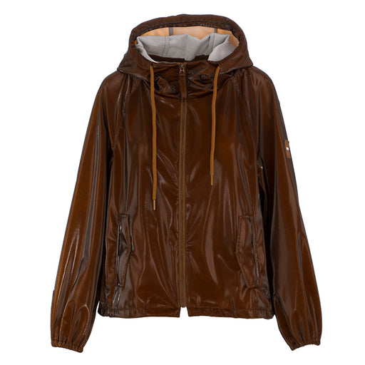 oof womens jacket with hood glossy brown