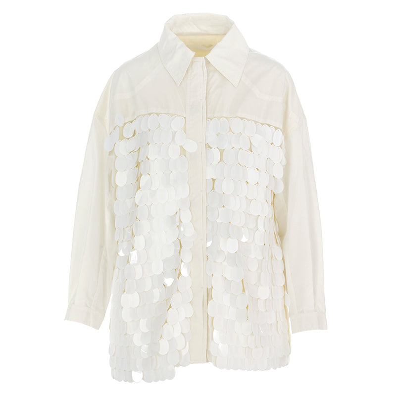 oof womens jacket shirt with paillettes white