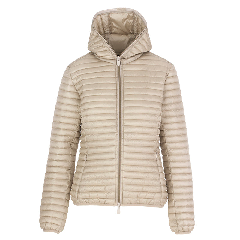 Save The Duck women's hooded jacket beige nylon