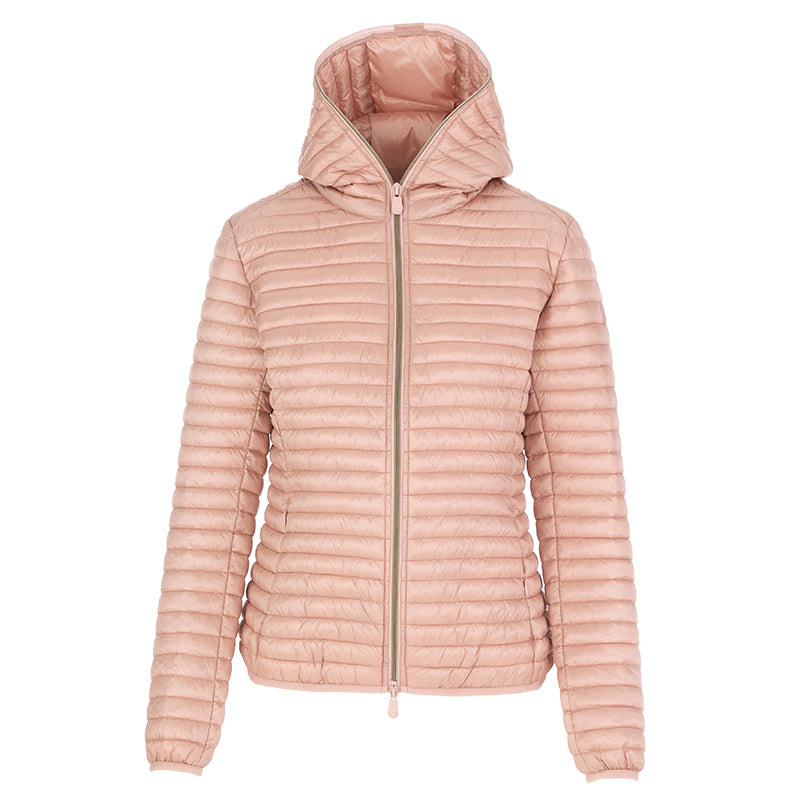 Save The Duck women's hooded jacket pink nylon