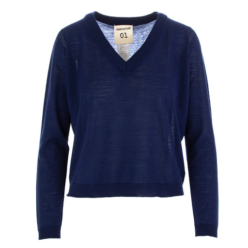 SEMICOUTURE | SWEATER BLUE WOOL
