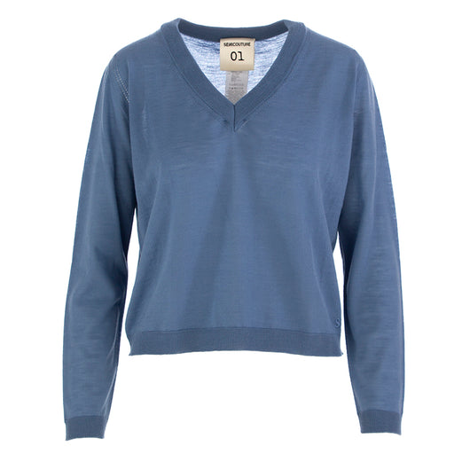 SEMICOUTURE | SWEATER LIGHT BLUE WOOL