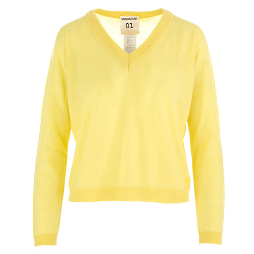 SEMICOUTURE | SWEATER LIGHT YELLOW WOOL