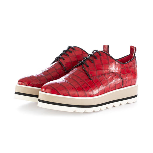 caterina c womens lace-up shoes red leather