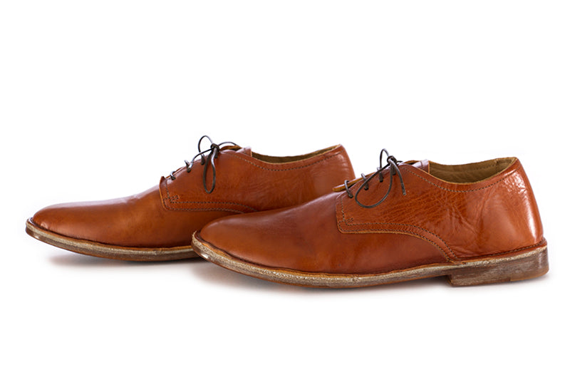 Moma mens flat shoes leather cognac brown