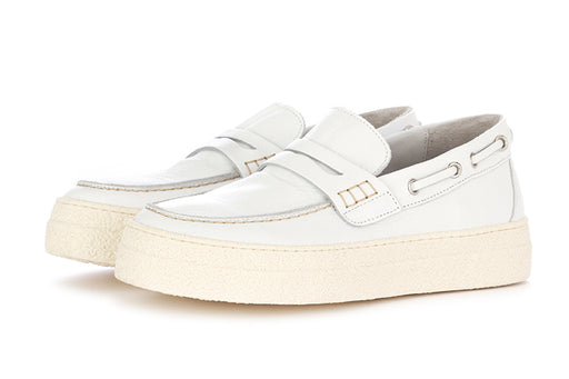 Oa non-fashion womens loafers white leather