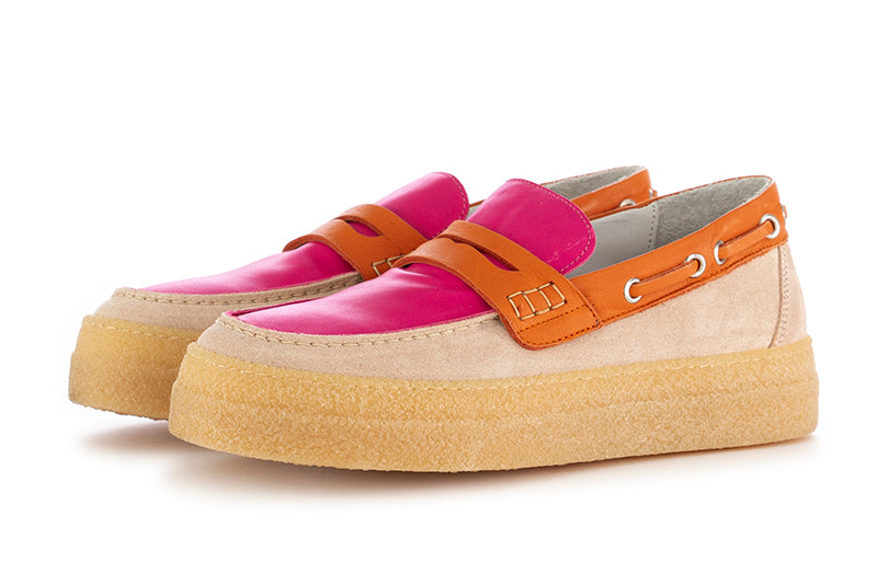 Oa non-fashion womens loafers pink orange suede