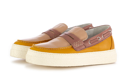 Oa non-fashion womens loafers yellow pink suede