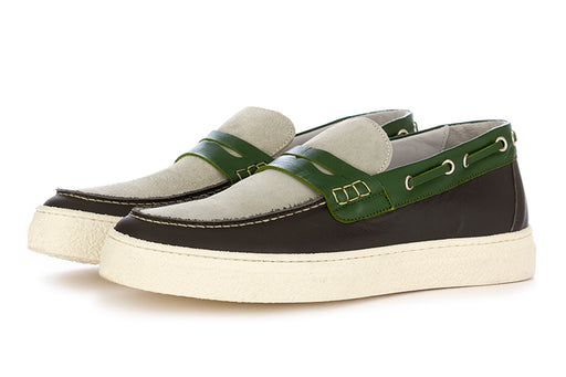 Oa non-fashion mens loafers grey green suede