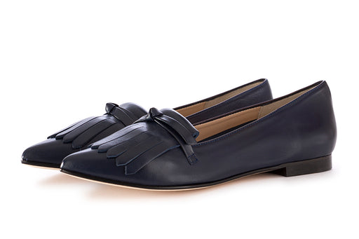Il Borgo Firenze womens dark blue leather loafers