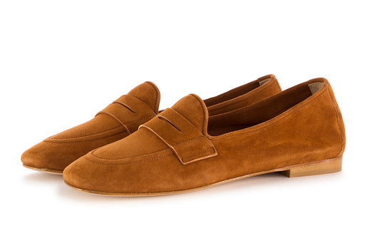 Nouvelle femme womens flat shoes suede brown