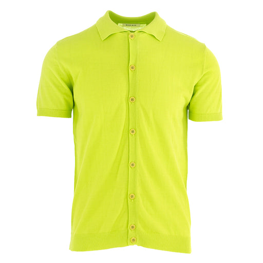 wool & co mens polo cotton acid green