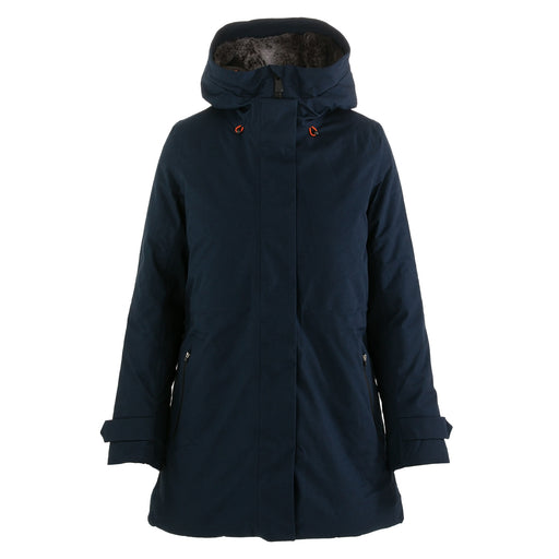 save the duck womens long puffer jacket blue