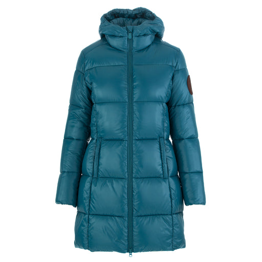 save the duck womens long puffer jacket light blue